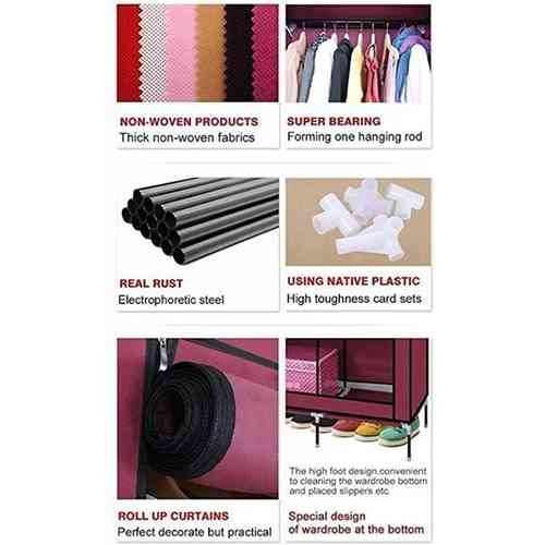 3 Door Portable Folding Wardrobe