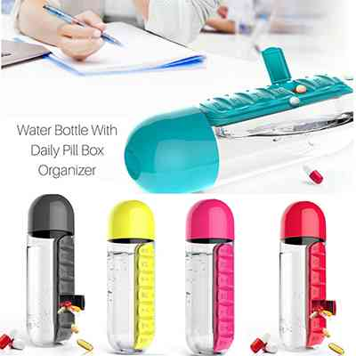 Daily Pill Box Organizer with Water Bottle