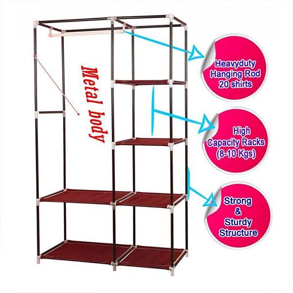 2 Door Multi-Functional Storage and Portable Wardrobe
