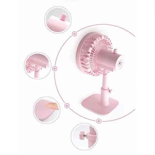 Small Rechargeable Table Fan Stretch Shaking Head Mini Fan Desktop Fan Portable