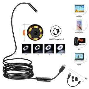 USB Android and PC 7mm Soft Tube Endoscope Wire Pinhole Camera – 2m