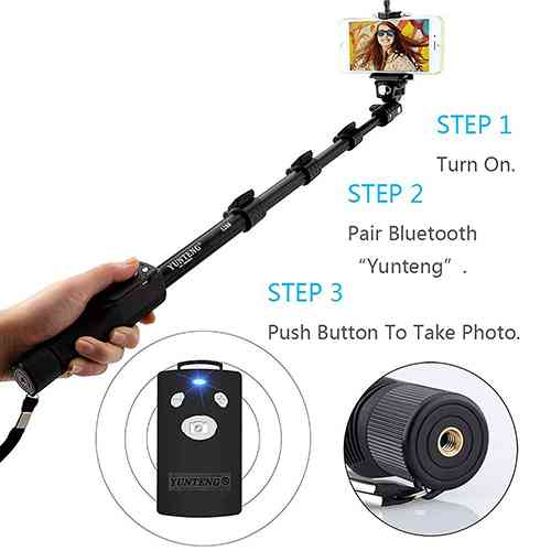 Yunteng YT 1288 Bluetooth Selfie Stick – Black, with Remote