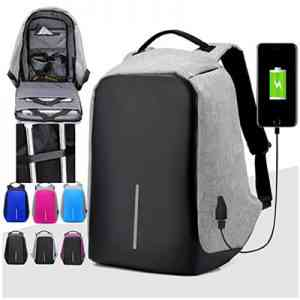 Anti-Theft Backpack External USB Charge Port Laptop Notebook School Bag