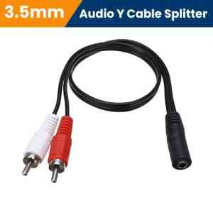 3.5mm Aux Female To 2 RCA Male Jack Adapters Audio Y Cable Splitter