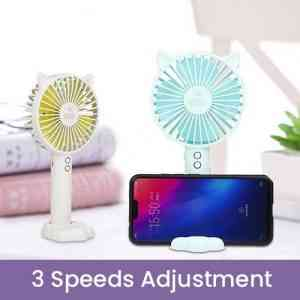 Portable Rechargeable Mini Hand Held Fan with Stand Holder