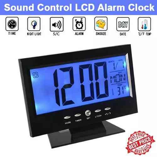 Sound Control Backlight Digital LCD Alarm Clock