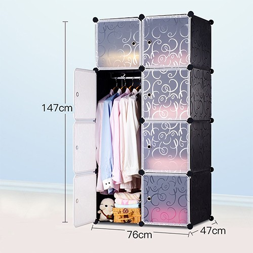 8 Door DIY Plastic Portable Wardrobe Storage Organizer