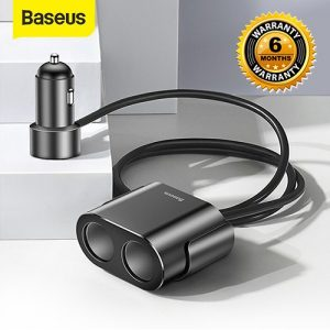 Baseus Car Cigarette Lighter Socket Splitter 12V-24V Dual USB Car Charger